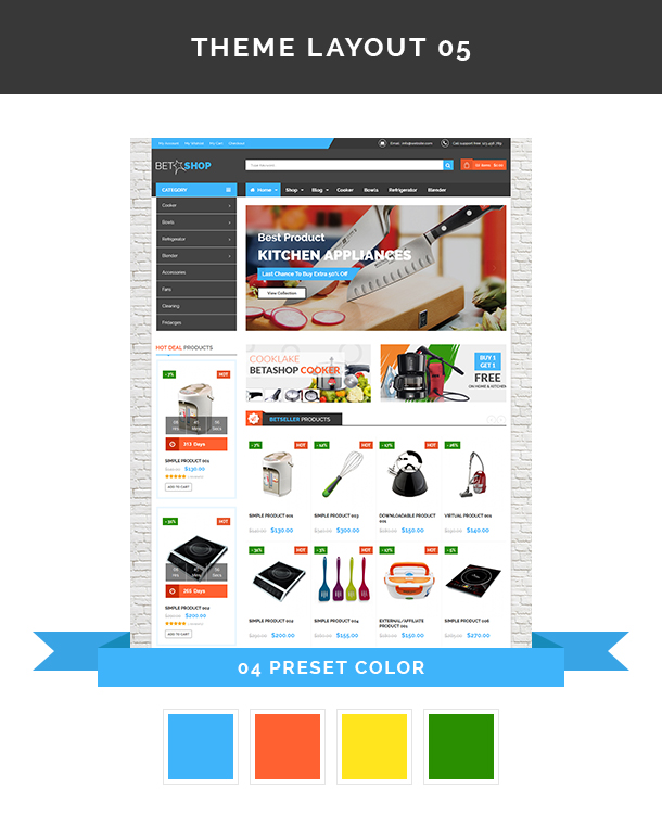 VG BetaShop - WooCommerce Vorlage für Küchengeräte