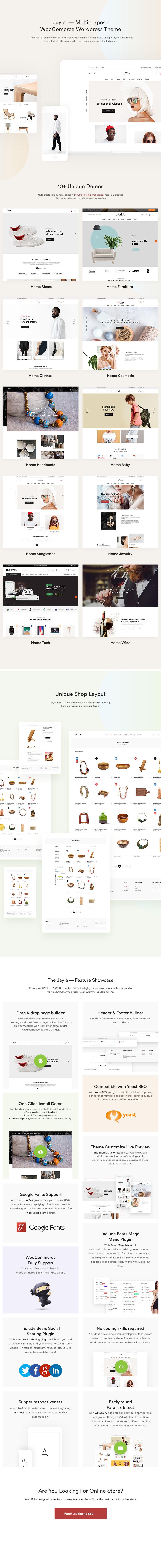 Jayla - Minimal & Modernes Multi-Konzept WooCommerce Template