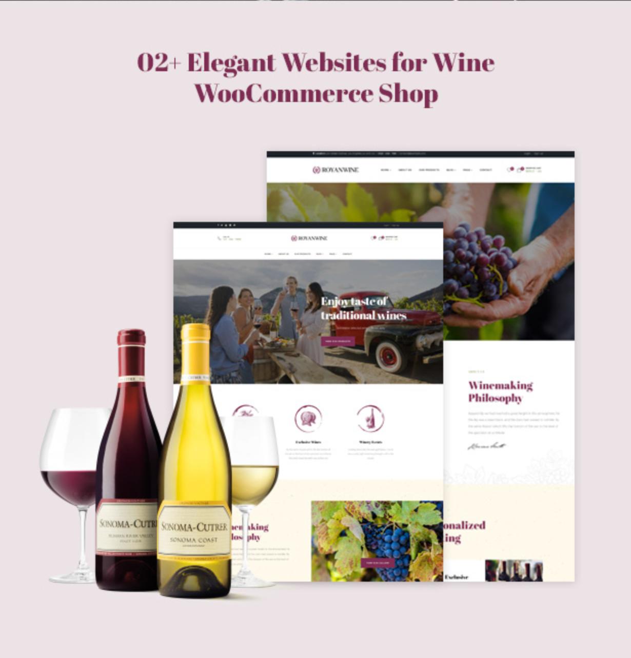 Royanwine mit 2 Homepages für Vinyard, Winery, Wine Makers, Dairy Farm