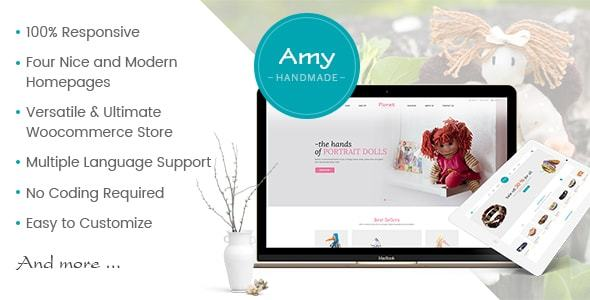 Wordpress Shop Template Amy Handmade - Blog and Shop WordPress Theme