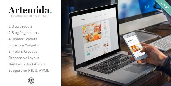 Wordpress Blog Template Artemida - Responsive Blog WordPress Theme