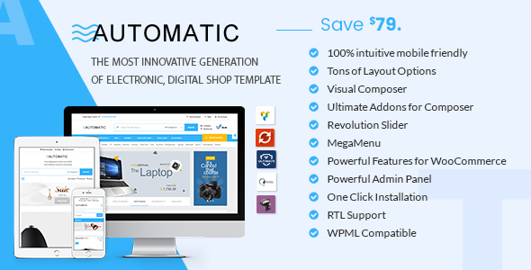 Wordpress Shop Template Automatic - WooCommerce Theme for Electronic, Computer, Digital Store