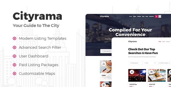 Wordpress Directory Template Cityrama - Local Listing & City Guide Theme