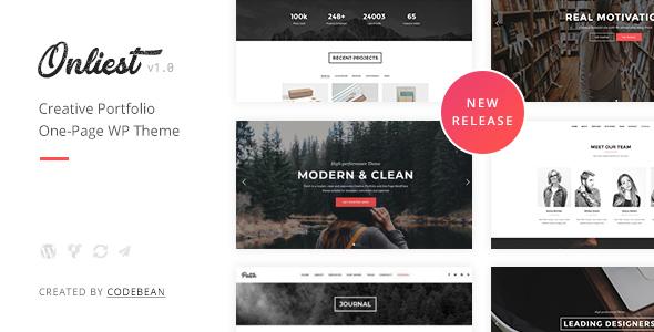 Wordpress Kreativ Template Onliest - Creative Portfolio One Page WP Theme