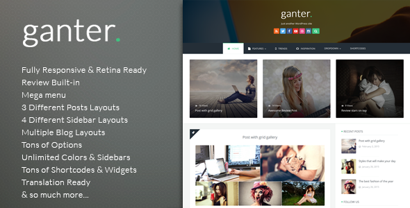 Wordpress Blog Template Ganter - Responsive WordPress Blogging Theme
