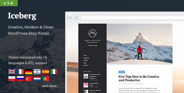 Wordpress Blog Template Iceberg - Simple & Minimal Personal Content-focused WordPress Blog Theme (RTL support)