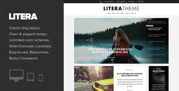 Wordpress Blog Template Litera - Elegant Personal Blog Theme