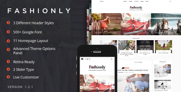 Wordpress Blog Template Fashionly - Fashion Blog Theme