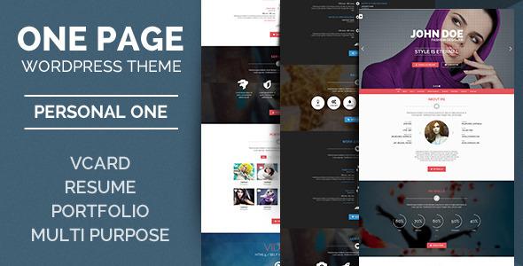 Wordpress Kreativ Template Personal One - OnePage / VCard / WordPress Theme