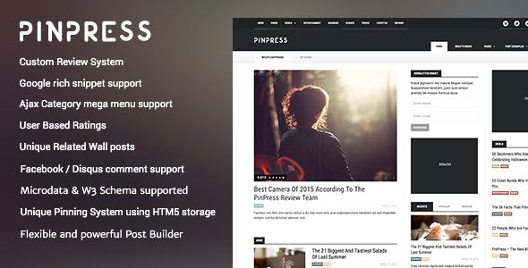 Wordpress Blog Template PinPress – The New Blogging Experience