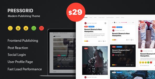 Wordpress Blog Template PressGrid - Frontend Publish Reaction & Multimedia Theme