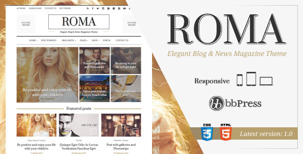 Wordpress Blog Template ROMA - Elegant Blog & News Magazine Theme