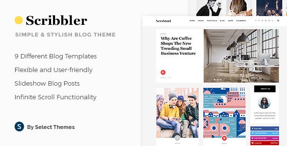 Wordpress Blog Template Scribbler - Simple Blog Theme