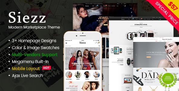 Wordpress Shop Template Siezz - Modern Multipurpose MarketPlace WordPress Theme (Mobile Layout Included)