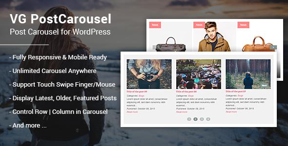 Wordpress Add-On Plugin VG PostCarousel - Post Carousel for WordPress
