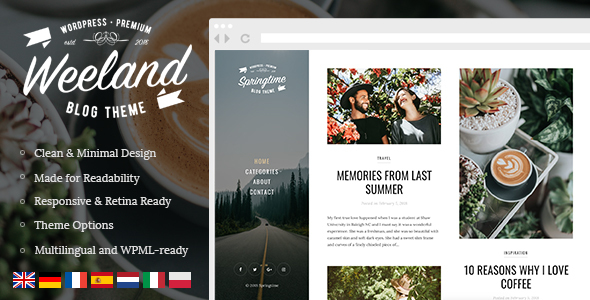 Wordpress Blog Template Weeland - Masonry Lifestyle WordPress Blog Theme