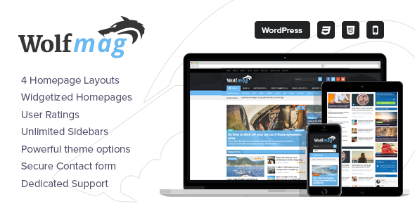Wordpress Blog Template Wolf - Responsive WordPress Magazine Theme