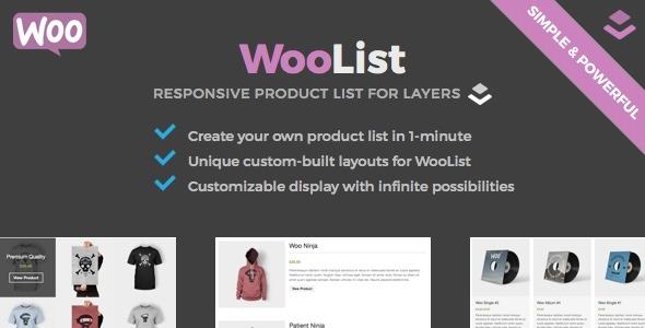Wordpress E-Commerce Plugin WooList - WooCommerce Product List for Layers