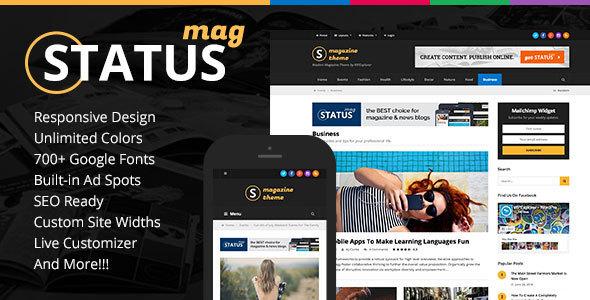 Wordpress Blog Template Status Magazine WordPress Theme