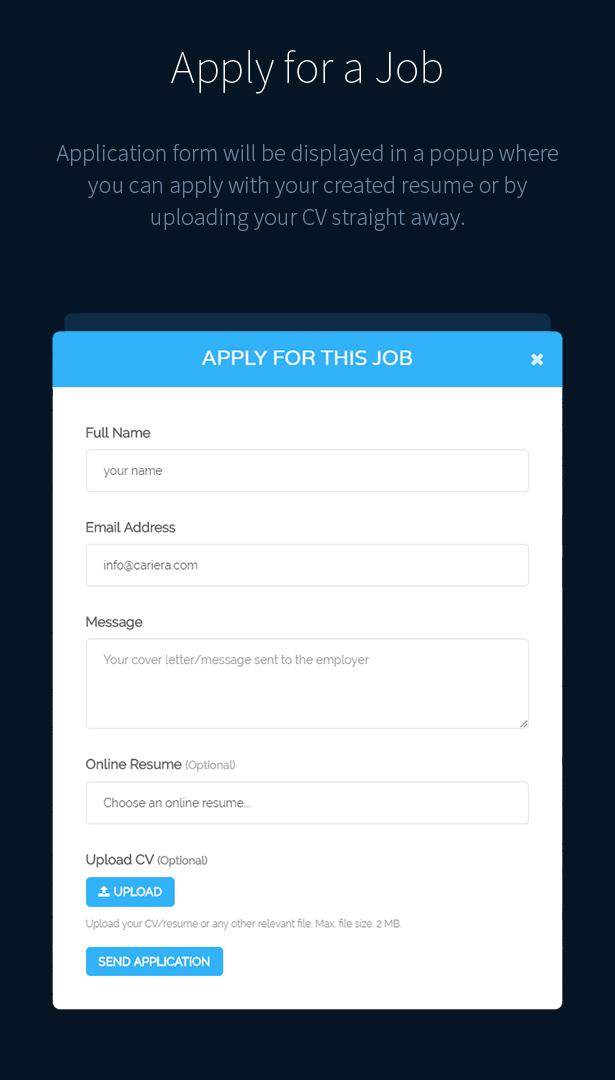 Cariera - Job Board WordPress-Layout