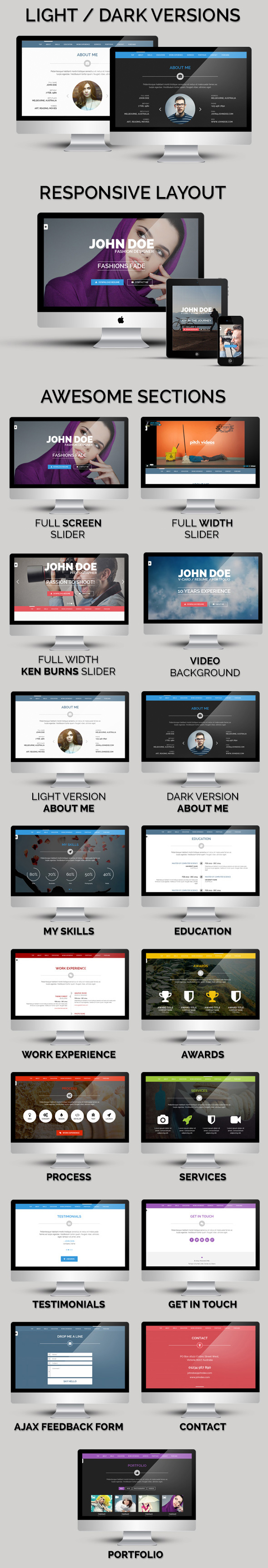 Persönliches One - OnePage / VCard / Wordpress Template