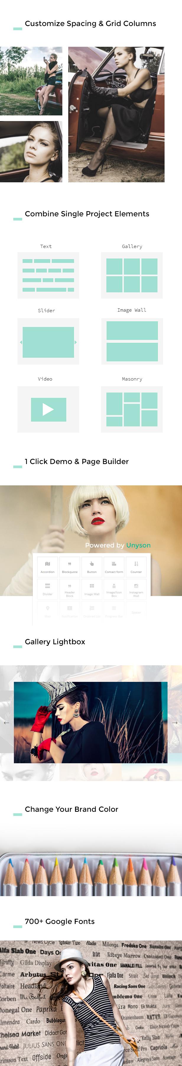 Rasterabstand, einzelnes Projektvideo, einzelne Projekttypen, 1 Klicken Sie auf Demo und Page Builder, Galerie-Lightbox, unbegrenzte Farben, über 700 Google-Schriftarten