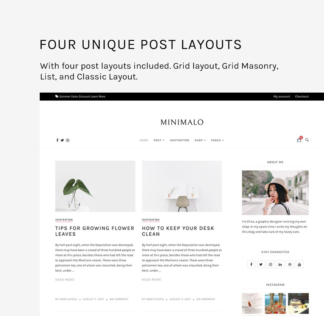 Minimalo - Ein minimales Blog-WordPress-Layout für kreative Websites