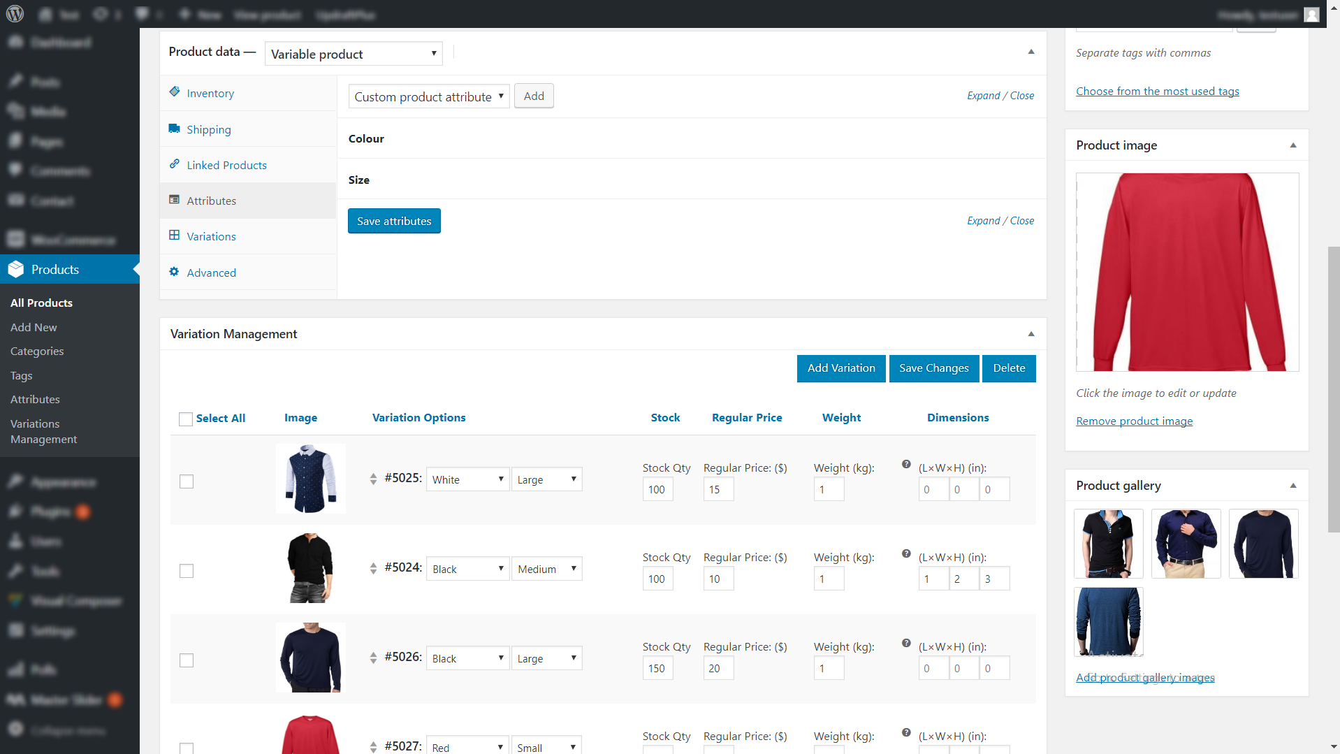 WooCommerce Easy Variations Management