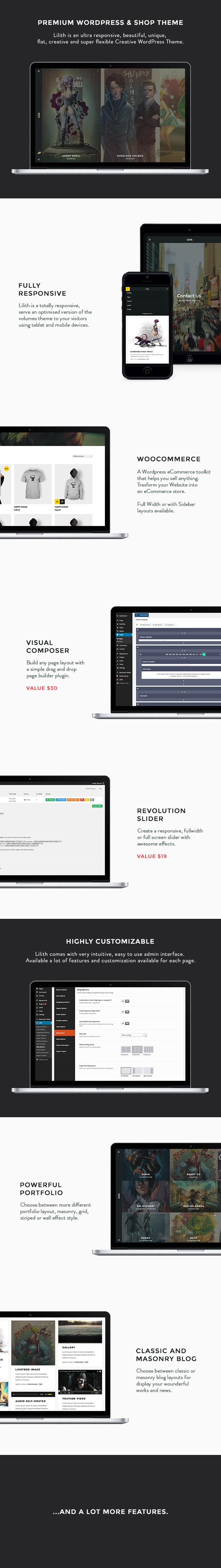 Lilith - Kreatives und WordPress-Vorlage kaufen