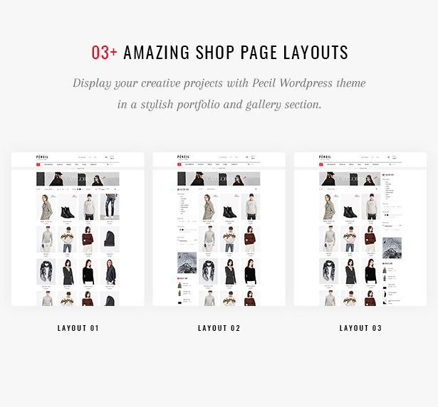 Pecil Amazing Shop Page Layouts