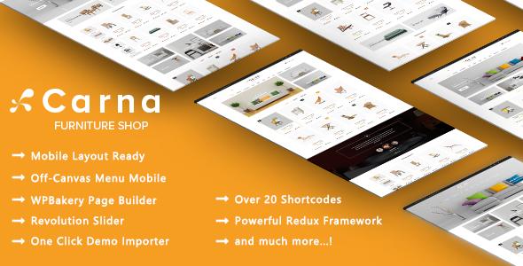 Wordpress Shop Template Carna - Clean Furniture Apartment Design WooCommerce WordPress Theme