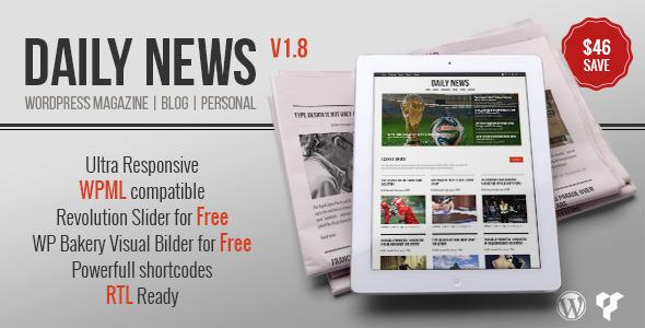 Wordpress Blog Template DAILYNEWS - Magazine | Blog | Personal WordPress Theme