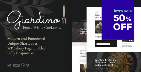Wordpress Entertainment Template Giardino | An Italian Restaurant & Cafe WordPress Theme