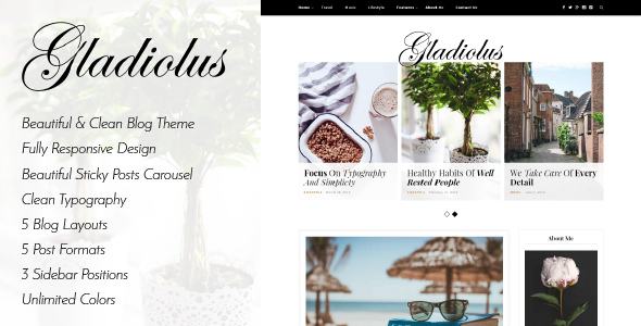 Wordpress Blog Template Gladiolus - A Responsive WordPress Blog Theme