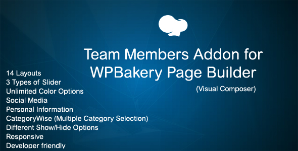 Wordpress Add-On Plugin JAG Team Member Addon for WPBakery Page Builder (Visual Composer)