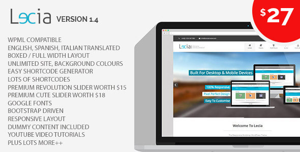 Wordpress Kreativ Template Lecia The Responsive Bootstrap WordPress Theme