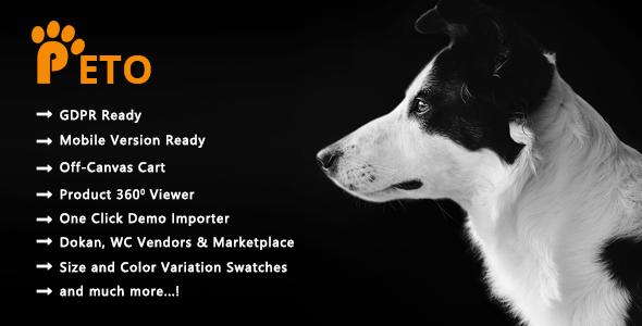 Wordpress Shop Template Peto - Pets and Vets Shop WooCommerce WordPress Theme