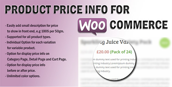 Wordpress E-Commerce Plugin Product Price Info For WooCommerce