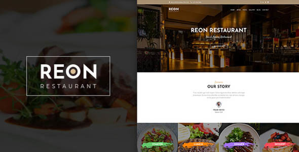 Wordpress Entertainment Template Reon - Restaurant WordPress Theme