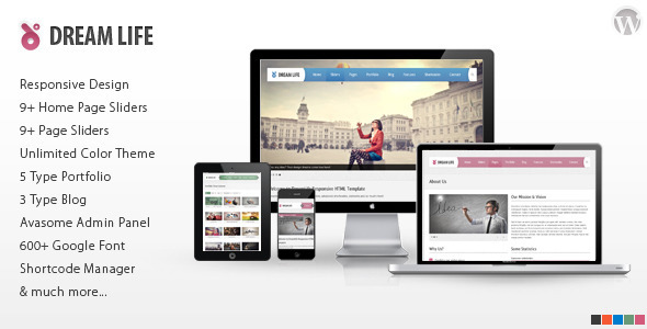 Wordpress Corporate Template DreamLife Responsive Multi-Purpose WordPress Theme
