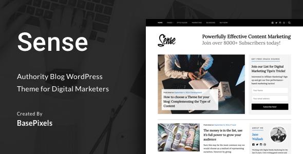 Wordpress Blog Template Sense - Authority Blog WordPress Theme
