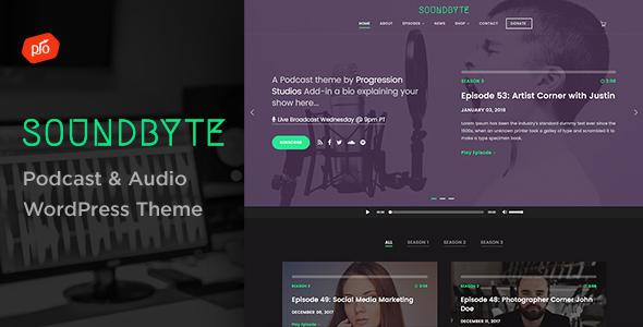 Wordpress Entertainment Template Soundbyte - Podcast/Audio WordPress Theme