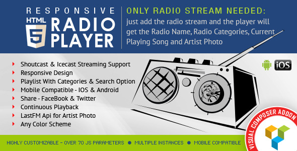 Wordpress Add-On Plugin Visual Composer Addon - HTML5 Radio Player for WPBakery Page Builder