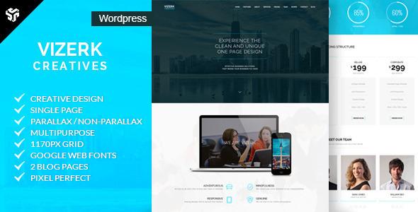 Wordpress Kreativ Template Vizerk - One Page Parallax WordPress Theme