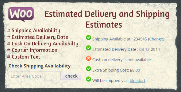 Wordpress E-Commerce Plugin WooCommerce Estimated Delivery Date