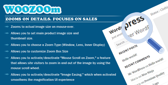 Wordpress E-Commerce Plugin WOOZOOm PRO - Zooms On Details. Focuses on Sales