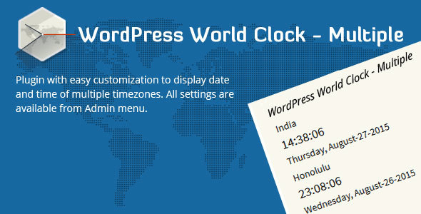 Wordpress Add-On Plugin WordPress World Clock – Multiple