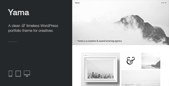 Wordpress Kreativ Template Yama: a clean, responsive and minimal WP portfolio theme with a strong focus on beautiful typography