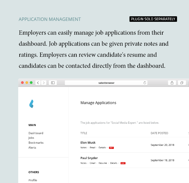 Job Applications Management - Dashboard