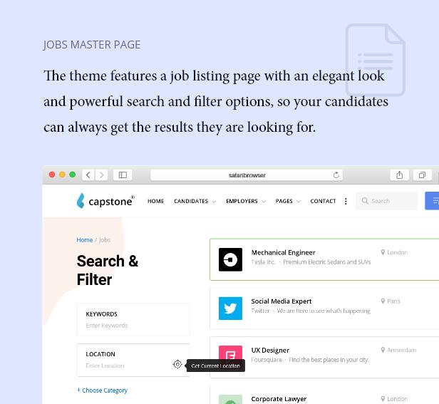 Job Master Listing Seite